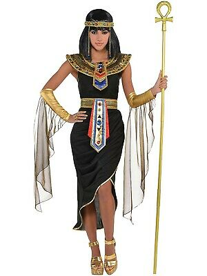 Adult 8-20 Egyptian Queen Black Fancy Dress Costume Ladies Outfit Toga Cleopatra