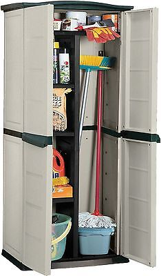 Keter Plastic Compact Garden Storage Shed Utility Cabinet 430L - Beige