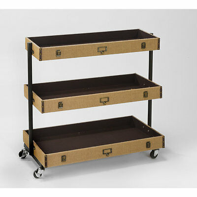 3-Tier Burlap Library Cart - Wide