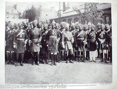 Staff Officers Of The Indian Army Rare Sikh India Print - Year 1897