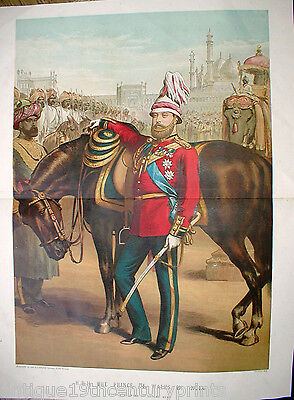 Edward Vii - Prince Of Wales In India Original Colour Lithograph - Year 1875