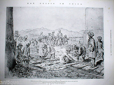Sikhs Constructing A Railway Peking Rare Crisis In China Sikh India Print -1900