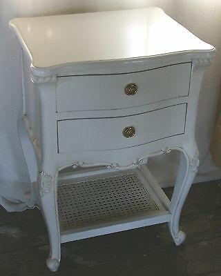 Two Solid Mahogany French Style Antique White Rattan Shelf Bedside Chests Pair