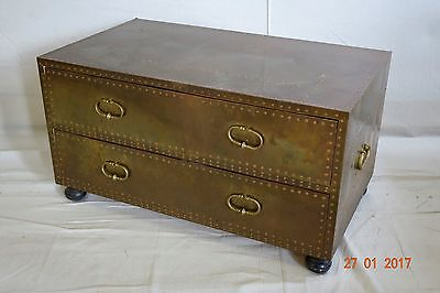Vintage Sarreid Brass 2 drawer chest of drawers cocktail table REDUCED