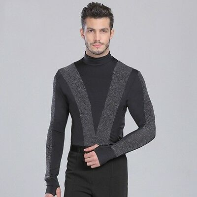 Mens Spandex Long Sleeve Latin Dance Turtle Neck T-shirt Bodysuit Tee Dancewear