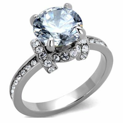 Big 9x9mm Clear Brilliant Cut CZ Center Stainless Steel Womens Wedding Ring