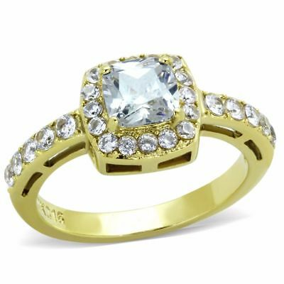 Womens 6x6mm Clear Cushion Cut CZ Center Gold IP Stainless Steel Cocktail Ring