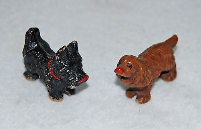 2 Vintage Miniature Wood Dogs Scottish Terrier and Cocker Spaniel