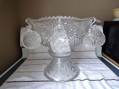 L.e. Smith Glass Crystal Clear Star Burst Punch Bowl Set Lqqk