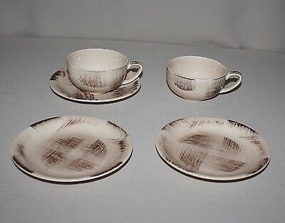 Vernonware Barkwood Cups Saucer Bread Plates Metlox Pottery CA USA Brown Brushed