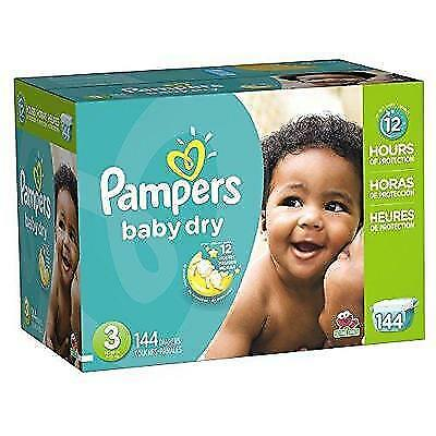 Pampers Baby-Dry Diapers Size 3 144 Count New