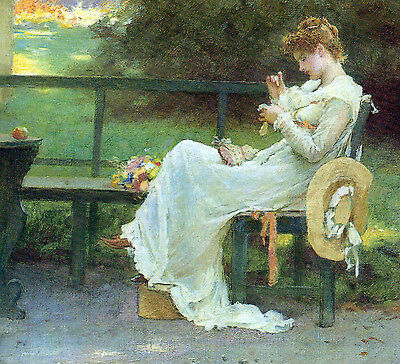 Fine Oil painting beautiful young lady sitting sewing in afternoon landscape art