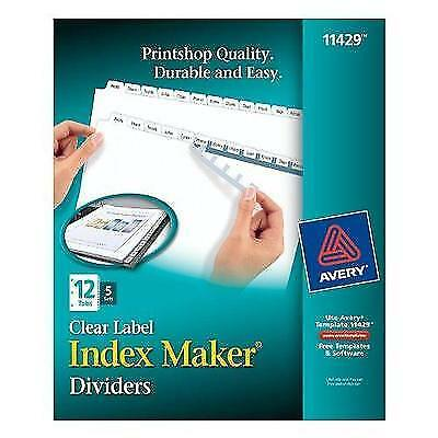 Avery Index Maker Clear Label 8-12 x 11 Inches Dividers with 12 White Tabs, 5