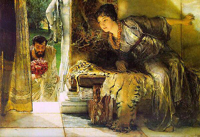 Huge Hand painted Oil painting Sir Lawrence Alma-Tadema - Welcome footsteps