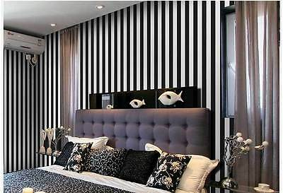 Classic black & white striped wallpaper industrial shop fitting wall paper roll