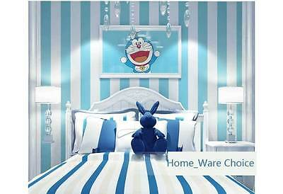 Nursery Boys room striped baby Blue wallpaper Classic stripe wall paper roll 10M