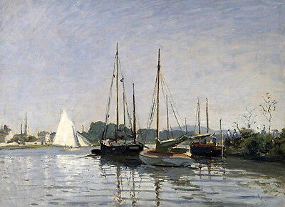 Hand painted oil painting nice seascape sail boats in harbor in summer season