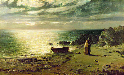 Hand painted Oil painting fisherman with his wife by the ocean with canoe