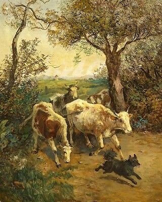 Hand painted oil painting cows cattles with dog running in the landscape