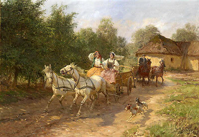 Oil painting village landsacpe family on carriage set out Hand painted canvas