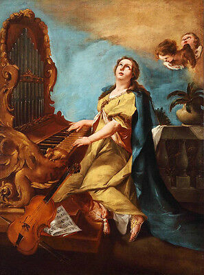 Oil painting portrait young lady playing piano with violin angels Hand painted