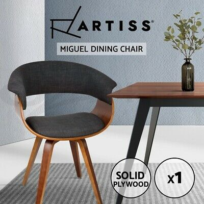 MIGUEL Dining Chairs Bentwood Wooden Timber Kitchen Home Cafe Fabric Charcoal