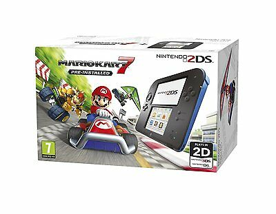 Nintendo 2DS Handheld Console With Pre-Installed Mariokart 7 Wi-Fi Black & Blue