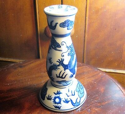 Vintage Blue And White Candle Holder Made In China .  Un