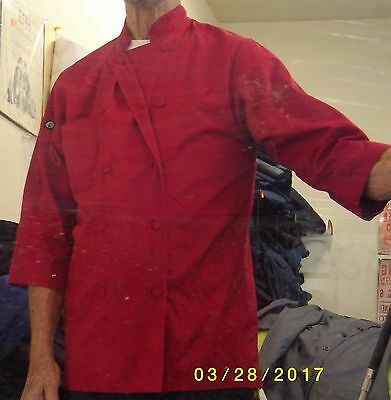 Chef Coat Chef Works Red Polyester Size Small 3/4 Sleeve 8 Button Only The One