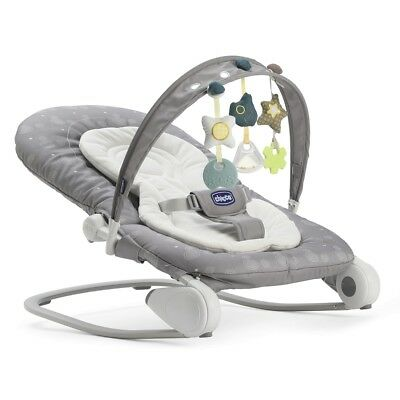 Chicco Hoopla Baby Bouncer Seat (Stone) with padded seat and newborn liner