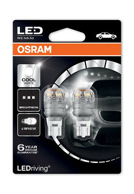 Osram Premium LED 921 Cool White 6000K Bulbs W16W (T16) Wedge 12V 3W 9213CW-02B