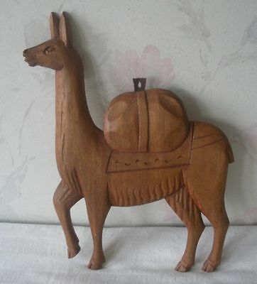 "Vintage Carved Wooden Wood LLAMA Figural Sculpture Hanging Wall Art 11"" x 8.5"""