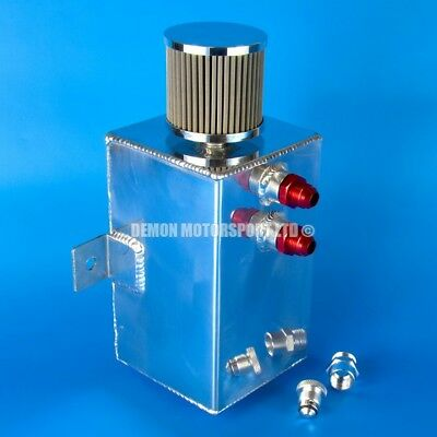 3 Litre AN10 Polished Aluminium Oil Catch Tank -10 10AN + Filter and Drain Plug