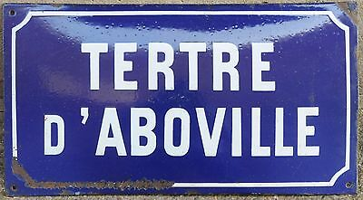 Old French enamel street sign road plaque Tertre d'Aboville small hill Chartres