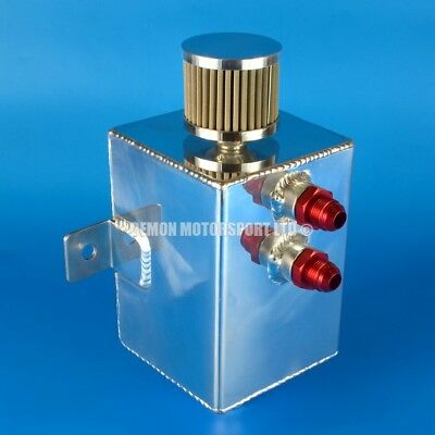 2 Litre AN8 Polished Aluminium Oil Catch Tank -8 8AN + Filter and Drain Plug
