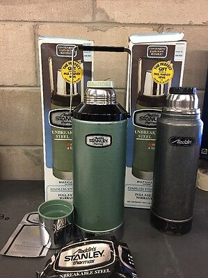 Lot Of 2 ALADDIN'S STANLEY A-945DH THERMOS HALF GAL. 1980 UNBREAKABLE STEEL