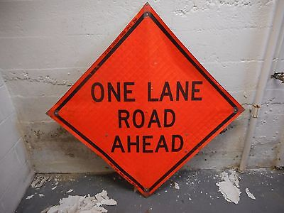 "One lane Road Ahead 36"" X 36"" Reflective Roll Up Sign With Ribs."