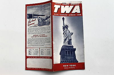 20938 TWA Trans world Airline Time Table USA Europe Afrika Janvier 1952 Flugplan