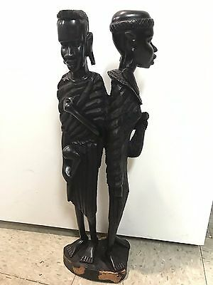 "African Masai Couple Ebony Hand Carved Wood Sculpture Tribal Art Statue 22"" Tall"