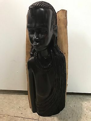 "African Masai Ebony Hand Carved Wood Sculpture Tribal Art Statue 17"" Tall"