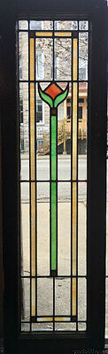 "Antique Stained Leaded Glass Window / Door 45"" by 13 1/2"" Circa 1925"