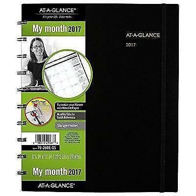 """AT-A-GLANCE Monthly Planner / Appointment Book 2017, Large, 8-3/4 x 11"""", Black"""