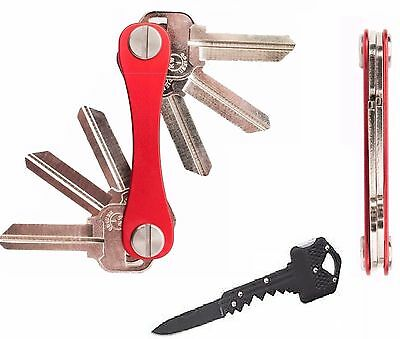 1-14 Key Smart Chain Organizer Compact Metal Holder Ring Red + Pocket Knife Tool