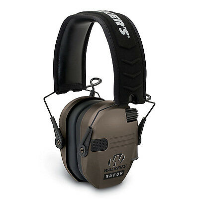 Walkers Razor Series Hearing Protection Dark Earth Slim Shooter Folding Earmuffs
