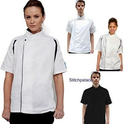 Le Chef Staycool chefs tunic with contrast panels & plain black or white XS-2XL