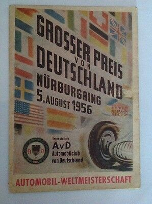 Rare German Grand Prix programme 5th August 1956, Fangio,Moss,Hawthorn
