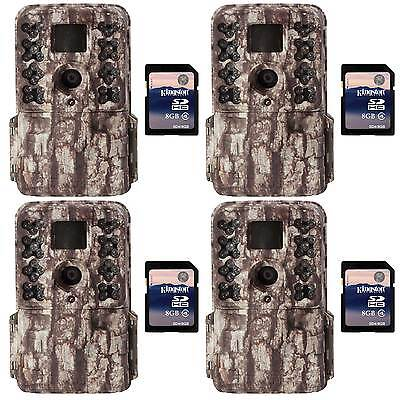 Moultrie M40 16MP 80' Video LowGlow IR Game Trail Cameras (4) + 8GB SD Cards (4)