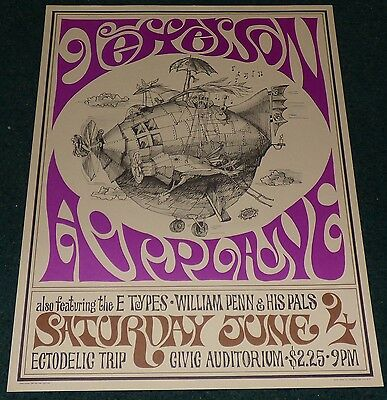 Jefferson Airplane Vintage Original 1967 Sparta Poster Grace Slick