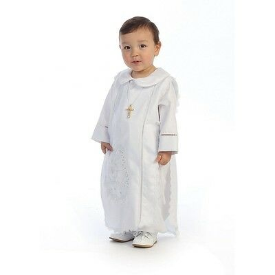 Angels Garment White Shantung Poly Romper Baptism Baby Boy 18-24M