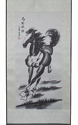 A Black & White Horse Hanging Scroll Painting Home Decor Housewarming Gift